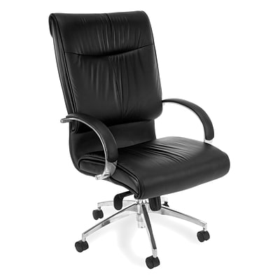 OFM Leather Executive Office Chair, Fixed Arms, Black (510-L)