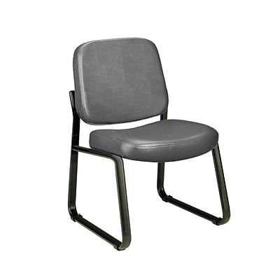 OFM™ Anti-Bacterial Vinyl Padded Guest/Reception Chair With Back, Charcoal