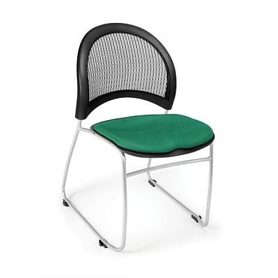 OFM™ Moon Series Fabric Stack Chair With Mesh Back, Shamrock Green