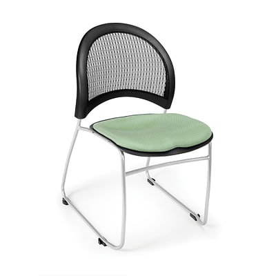 OFM™ Moon Series Fabric Stack Chair With Mesh Back, Sage Green