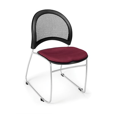 OFM™ Moon Series Fabric Stack Chair With Mesh Back, Burgundy