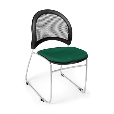 OFM™ Moon Series Fabric Stack Chair With Mesh Back, Forest Green