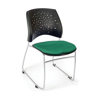 OFM™ Stars Series Fabric Stack Chair With Triple Curve Seat Design, Shamrock Green