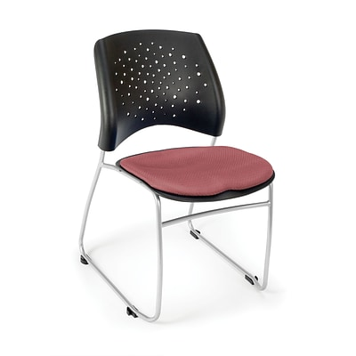 OFM™ Stars Series Fabric Stack Chair With Triple Curve Seat Design, Coral Pink