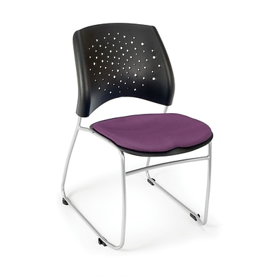 OFM™ Stars Series Fabric Stack Chair With Triple Curve Seat Design, Plum