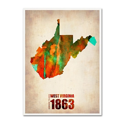 Trademark Fine Art West Virginia Watercolor Map 35 x 47 Canvas Art