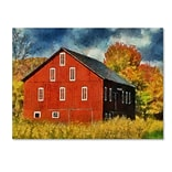 Trademark Fine Art Red Barn In Autumn 14 x 19 Canvas Art