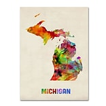 Trademark Fine Art Michigan Map 35 x 47 Canvas Art