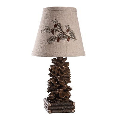 AHS Lighting Pinecone Accent Lamp With Embroidered Pine Branch Shade, Brown
