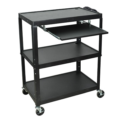 Luxor 24- 42 Adjustable Height Extra Large Steel A/V Cart With Keyboard Shelf, Black