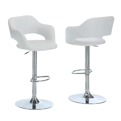 Monarch Leather Chrome Metal Hydraulic Lift Barstool With Round Footrest, White