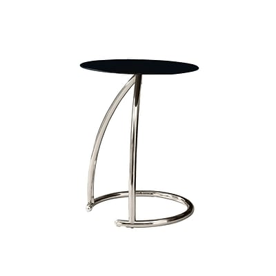 Monarch 22 3/4 Tempered Glass/Chrome Metal Accent Table, Black