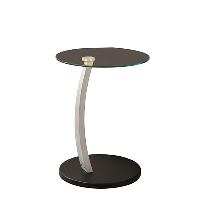 Monarch 23.66 Tempered Glass/Silver Bentwood Accent Table, Clear