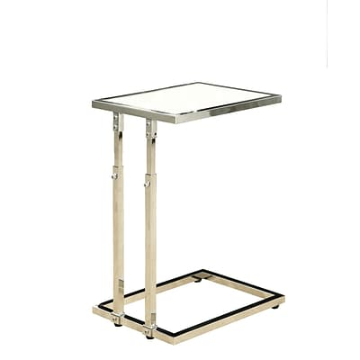 Monarch 25 Tempered Glass/Chrome Metal Adjustable Height Accent Table, Glossy White