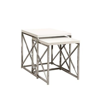 Monarch 2 Piece 19 3/4 x 19 3/4 x 19 3/4 Metal Nesting Table Set, Glossy White