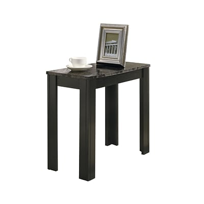 Monarch 23 1/2 Marble Accent Side Table, Black/Gray