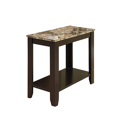 Monarch 23 1/2 Marble Top Accent Side Table, Cappuccino