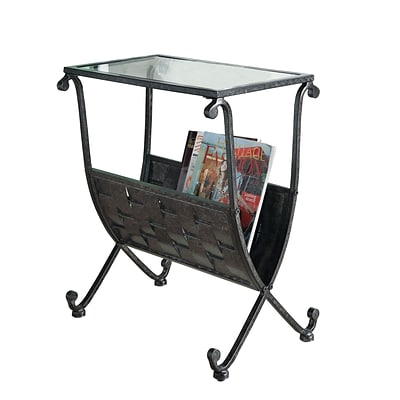 Monarch 23 x 13 x 19 Tempered Glass Magazine Table, Clear