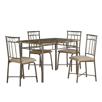 Monarch 5PC Marble Dining Set, Cappuccino