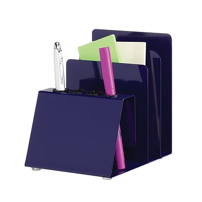 MMF Industries™ STEELMASTER® Steel Pencil, Pen and Note Holder, Blue