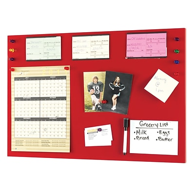 MMF Industries™ STEELMASTER® Soho Collection™ 14(H) x 24(W) Magnetic Board, Red