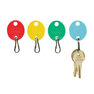 MMF Industries™ Oval Key Tags With Snap Hook, 1 1/4, Red