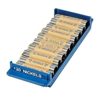 MMF Industries™ Porta-Count® Rolled-Coin Storage Tray, Blue, $20 Nickels, 5H x 3 3/4W x 10 1/2D