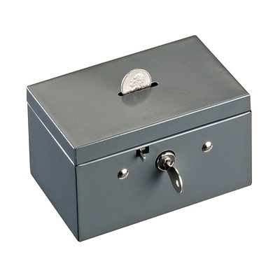 MMF Industries™ STEELMASTER® Coin & Stamp Box, Gray, 3 1/16H x 5 1/2W x 3 3/8D