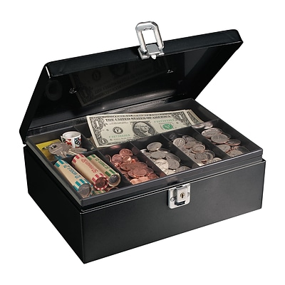 MMF Industries™ STEELMASTER® Anti-Theft Cable Cash Box, Black, 4H x 11W x 7 3/4D