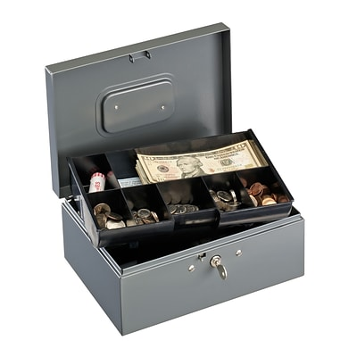 MMF Industries™ STEELMASTER® Low Profile Cash Box With 10 Compartment
