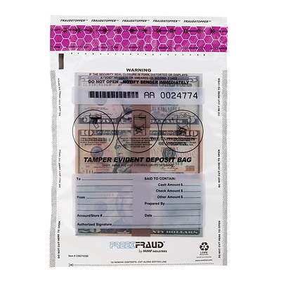 MMF Industries™ FREEZFraud™ 16 x 12 Tamper Evident Deposit Bags, Clear