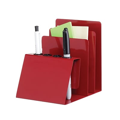 MMF Industries™ STEELMASTER® Steel Organizers Pen, Pencil and Note Holder, Red