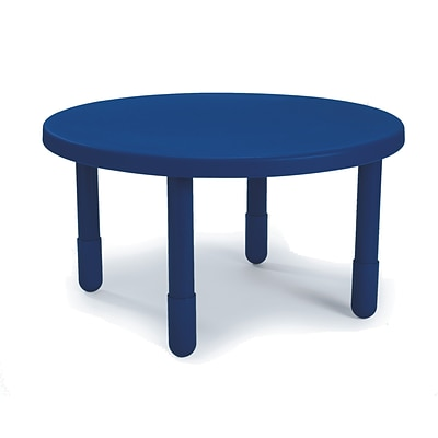 Angeles® 20 x 36 Plastic Round Value Preschool Table, Royal Blue