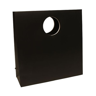 JAM Paper® Heavy Duty Matte Die Cut Gift Bag, Medium, 12 x 12 x 4, Black, Sold individually (892DCBL)