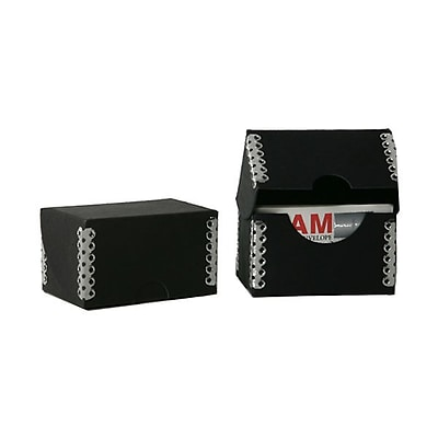 JAM Paper® Kraft Ecoboard Business Card Box, Black Recycled Kraft with Metal Edge, Sold Individually (9064 202)