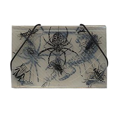 JAM Paper® Plastic Business Card Case, Bugs Design Clear/Black, 1/Pack (33667487B)