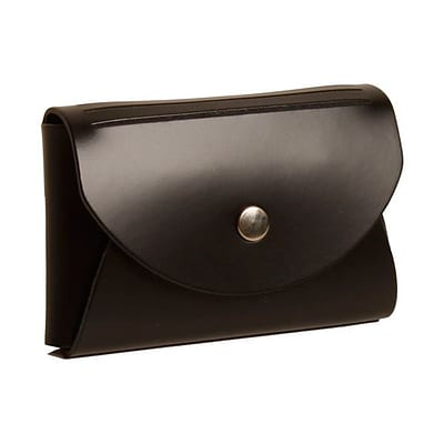 JAM Paper® Leather Business Card Case, Round Flap, Black, 1/Pack (2233317456B)