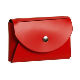 JAM Paper® Leather Business Card Case, Round Flap, Red, 1/Pack (2233317457B)