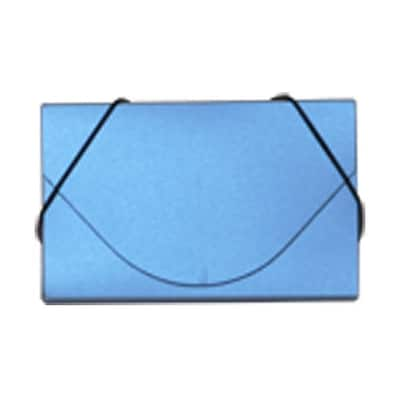 JAM Paper® Plastic Business Card Case, Blue Metallic, Sold Individually (3656189)