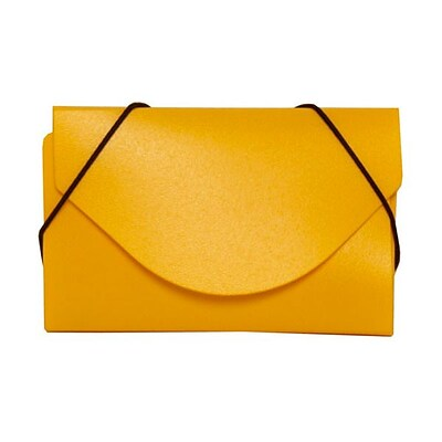 JAM Paper® Plastic Business Card Case, Yellow, 1/Pack (291618971B)