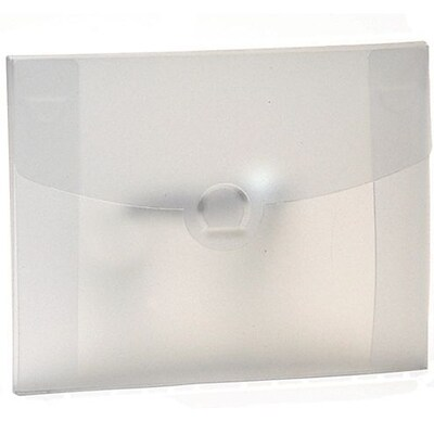 JAM Paper® Plastic Portfolio with Circular Tuck Flap Closure - 8 1/2 x 6 1/2 x 1/4 - Clear Frost - Sold Individually
