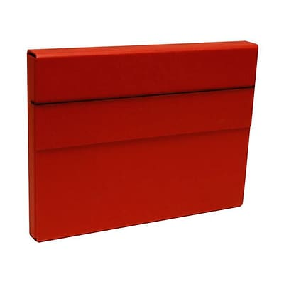 JAM Paper® Strong Thick Portfolio Carrying Case with Elastic Band Closure - 10 x 1 1/4 x 13 1/4 - Red - Sold Individually