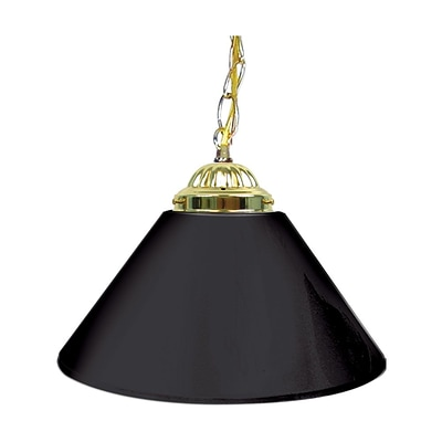 Trademark Global® 14 Single Shade Bar Lamp With Brass Hardware, Plain Black