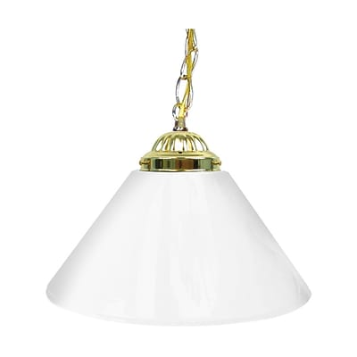 Trademark Global® 14 Single Shade Bar Lamp With Brass Hardware, Plain White