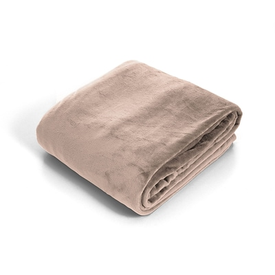 Trademark Global® Lavish Home Super Soft Flannel Blanket, Twin, Beige