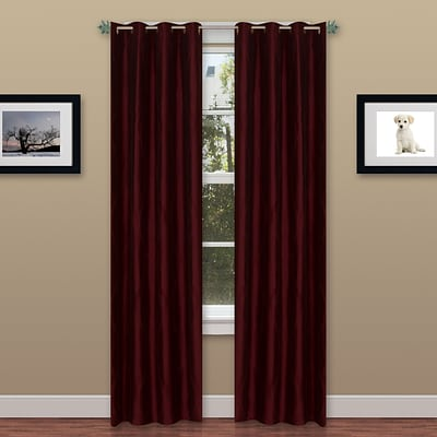 Trademark Global® Lavish Home 2 Panel Wavy Curtain Set With Grommets, Burgundy