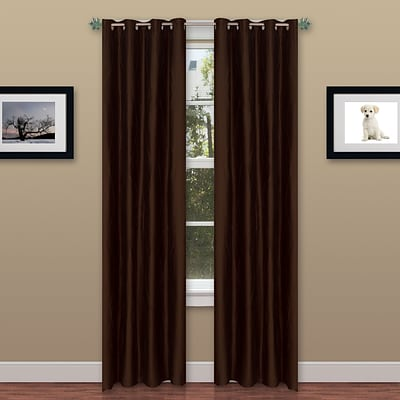 Trademark Global® Lavish Home 2 Panel Wavy Curtain Set With Grommets, Chocolate