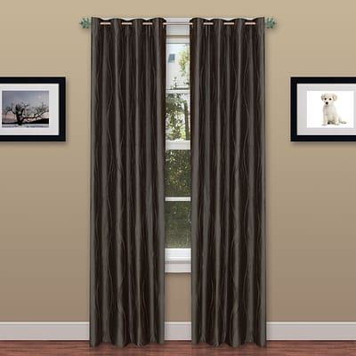 Trademark Global® Lavish Home 2 Panel Wavy Curtain Set With Grommets, Grey