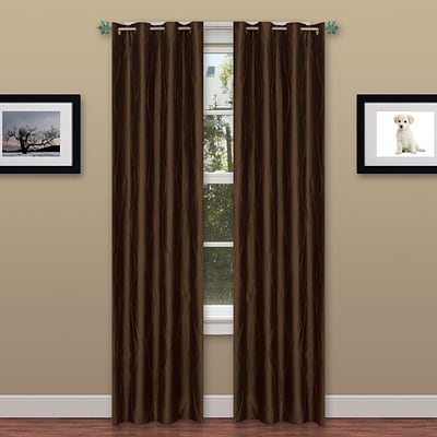 Trademark Global® Lavish Home 2 Panel Wavy Curtain Set With Grommets, Brown