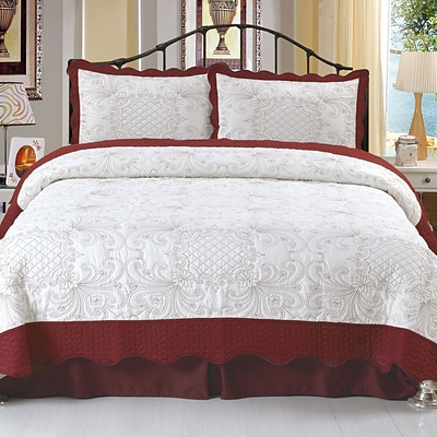 Trademark Global® Lavish Home 2 Piece Juliette Embroidered Quilt Set, Twin